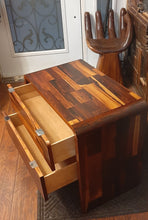 "Load image into Gallery viewer, REFINISHED MCM Rosewood Patchwork Cabinet with 2 drawers 28"", perfect, 2 AVAILABLE"