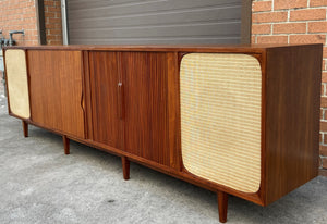 REFINISHED Unique MCM Teak Stereo Console with Tambour Doors & Rotating Bar 103""