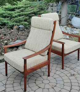 Set of 2 RESTORED REUPHOLSTERED MCM High Back Lounge Chairs by Casala in Maharam Paul Smith stripe