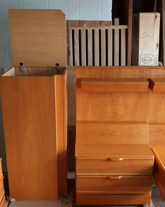 RESTORED MCM bedroom set:  platform bed w nighstands, slats & matresses and dressers, made in Germany, perfect