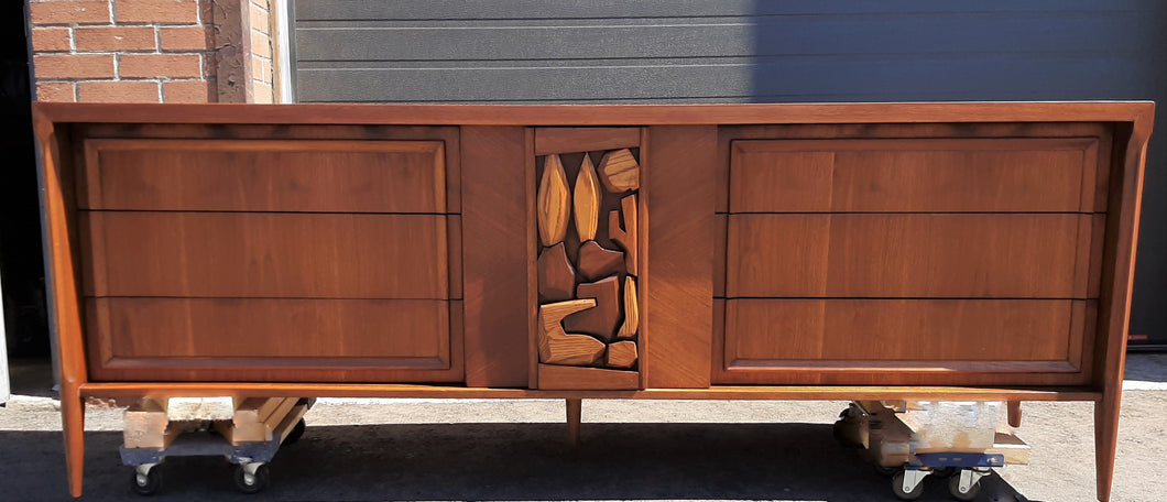 REFINISHED MCM Walnut Brutalist Walnut Dresser Credenza 84