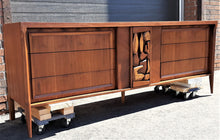 "Load image into Gallery viewer, REFINISHED MCM Walnut Brutalist Walnut Dresser Credenza 84"" PERFECT"