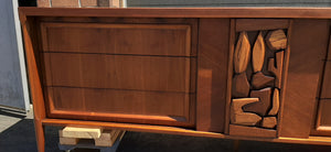 "REFINISHED MCM Walnut Brutalist Walnut Dresser Credenza 84"" PERFECT"