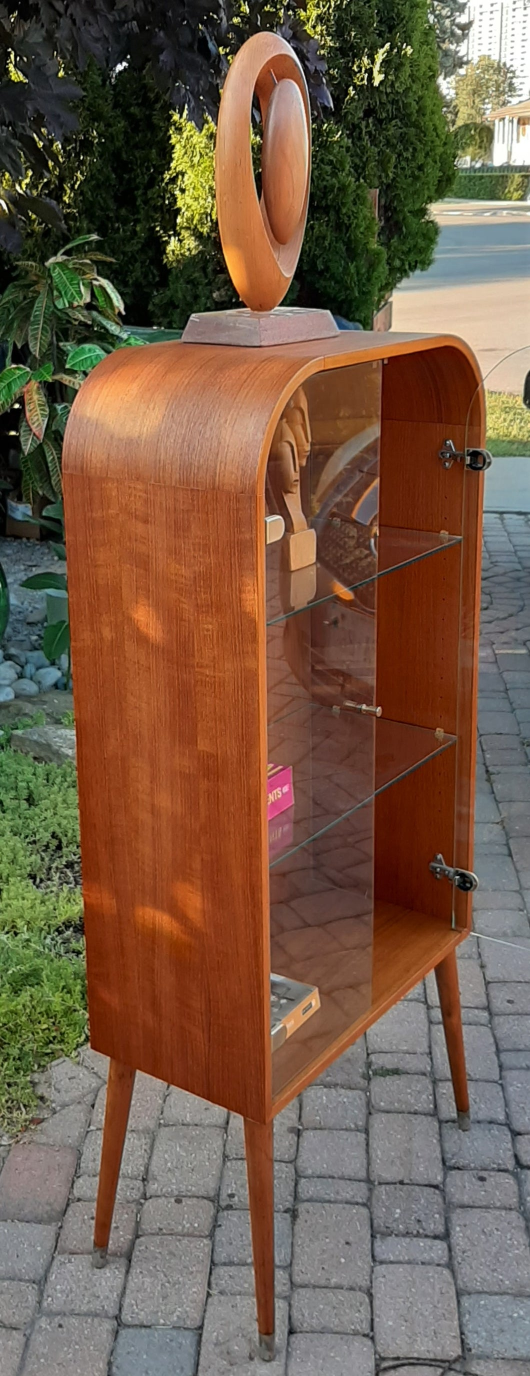 REFINISHED Danish MCM Arched Top Teak Display w Glass Doors & Lighting, 24