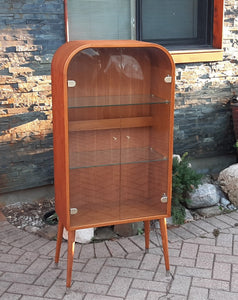"REFINISHED Danish MCM Arched Top Teak Display w Glass Doors & Lighting, 24"" PERFECT"