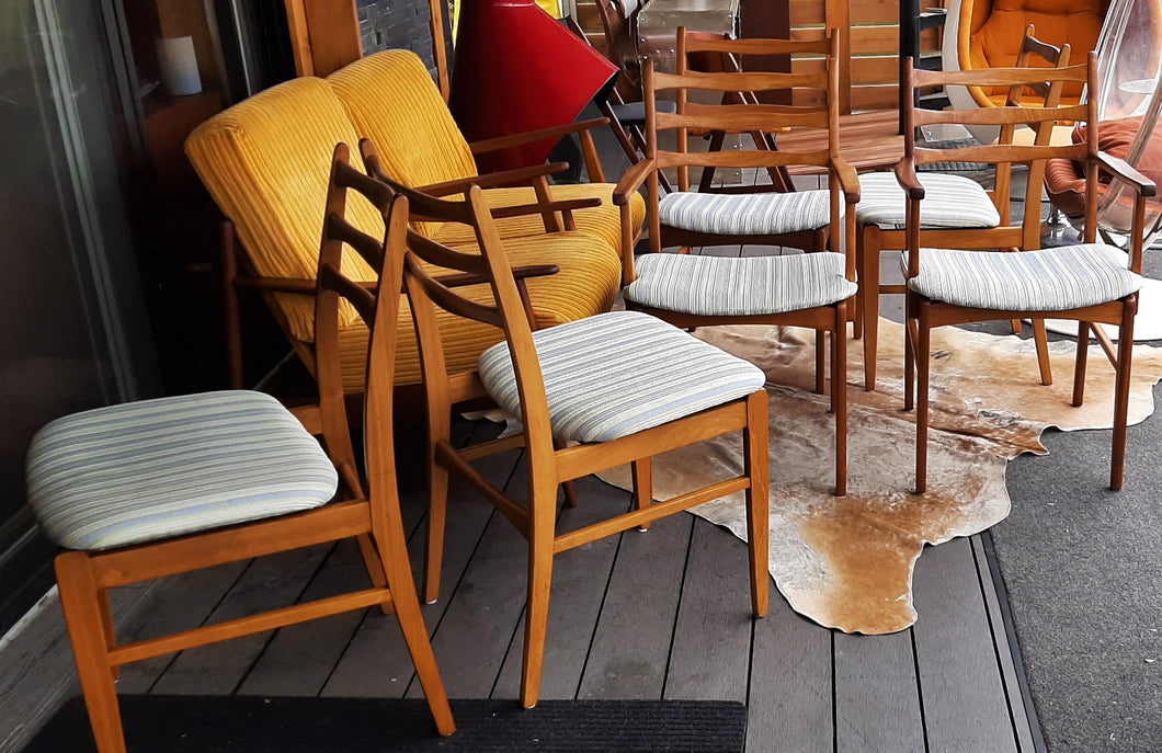 6 Large MCM Solid Mahogany Chairs  RESTORED, 2 arm, 4 side, perfect, each $199 only - Mid Century Modern Toronto
