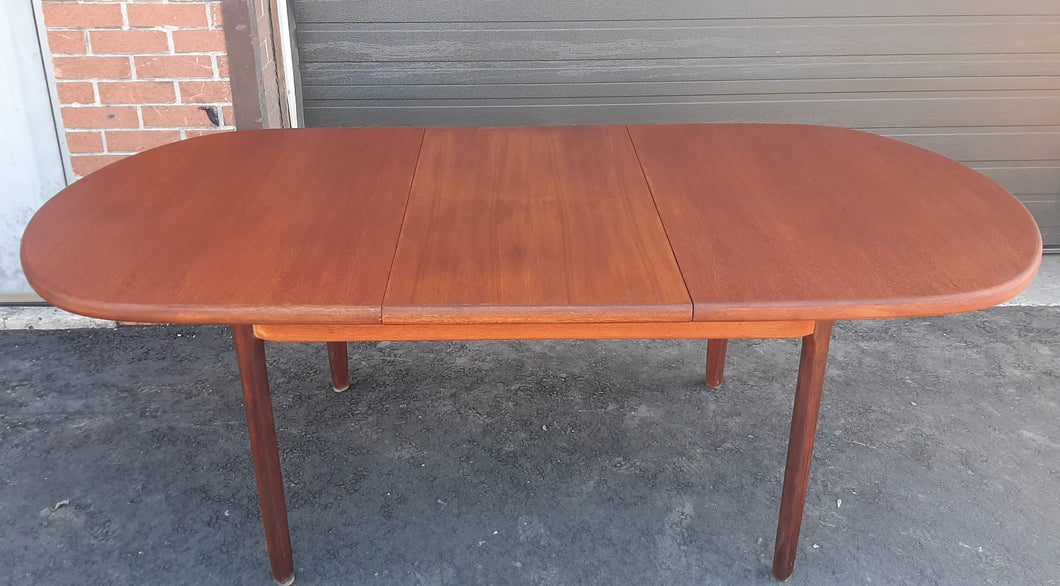 REFINISHED MCM Teak Table Oval Self-Storing w Butterfly Leaf 60
