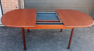 "REFINISHED MCM Teak Table Oval Self-Storing w Butterfly Leaf 60""-80.5"" - Mid Century Modern Toronto"
