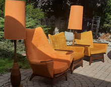 Load image into Gallery viewer, Set of 2 MCM Lounge Chairs in Walnut & Mohair attributed to Adrian Pearsall