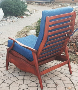 REFINISHED REUPHOLSTERED MCM High Back Lounge Chair Reclining, PERFECT