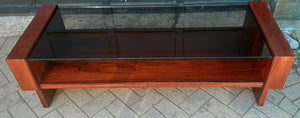 RESTORED MCM Rosewood Coffee Table with tinted glass top