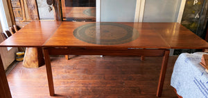 "REFINISHED MCM Rosewood Draw Leaf Table with copper inlay  60""-100"" large"