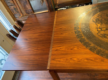 "Load image into Gallery viewer, REFINISHED MCM Rosewood Draw Leaf Table with copper inlay  60""-100"" large"