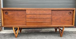 REFINISHED MCM Walnut Sideboard TV Media Console 70""