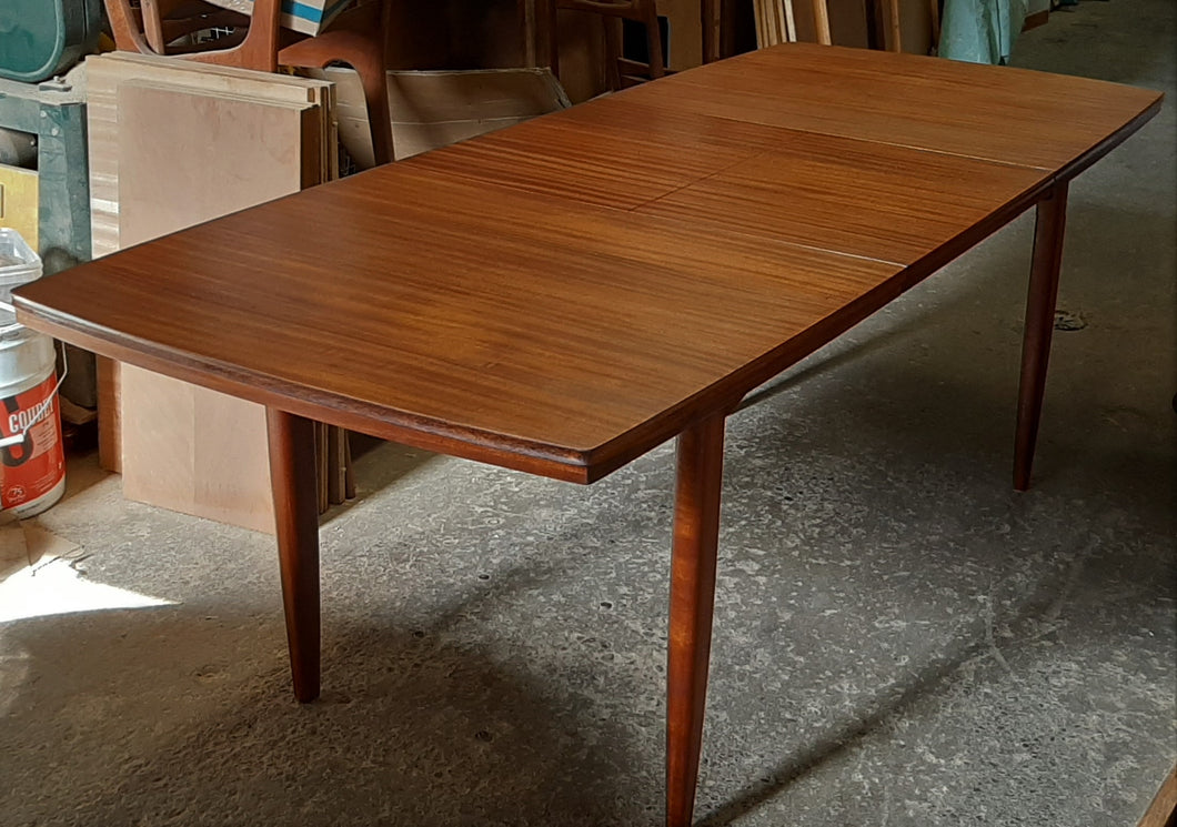 REFINISHED MCM Solid Teak Mahogany Table with butterfly extension 60