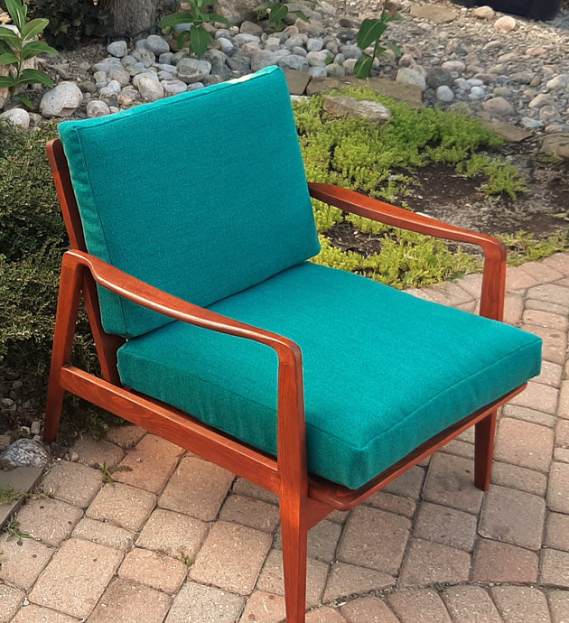REFINISHED REUPHOLSTERED MCM Walnut Lounge Chair in green/blue performance fabric, PERFECT