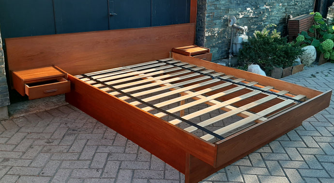 REFINISHED MCM Teak Platform Bed w floating nightstands Queen, PERFECT