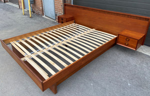 REFINISHED MCM Teak Platform Bed w floating nightstands Queen