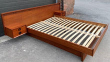 Load image into Gallery viewer, REFINISHED MCM Teak Platform Bed w floating nightstands Queen