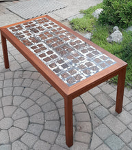 "Load image into Gallery viewer, REFINISHED Danish MCM teak coffee table with tile inlay 47 x 22"", PERFECT"