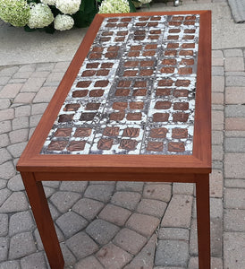 "REFINISHED Danish MCM teak coffee table with tile inlay 47 x 22"", PERFECT"