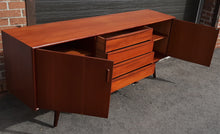 Load image into Gallery viewer, REFINISHED Danish MCM Teak sideboard Credenza TV Console 6 ft, narrow, PERFECT
