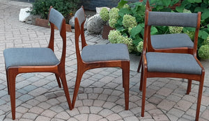 4 MCM Teak Chairs REFINISHED REUPHOLSTERED