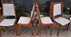 Set of 6 MCM Teak Chairs, RESTORED REUPHOLSTERED in KNOLL stain resistant fabric