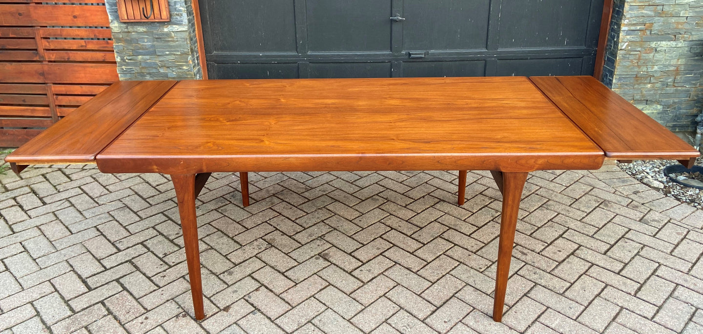 On Hold***REFINISHED Danish MCM Teak Draw Leaf Table by Ib Kofod-Larsen for Faarup, 6 ft- 98
