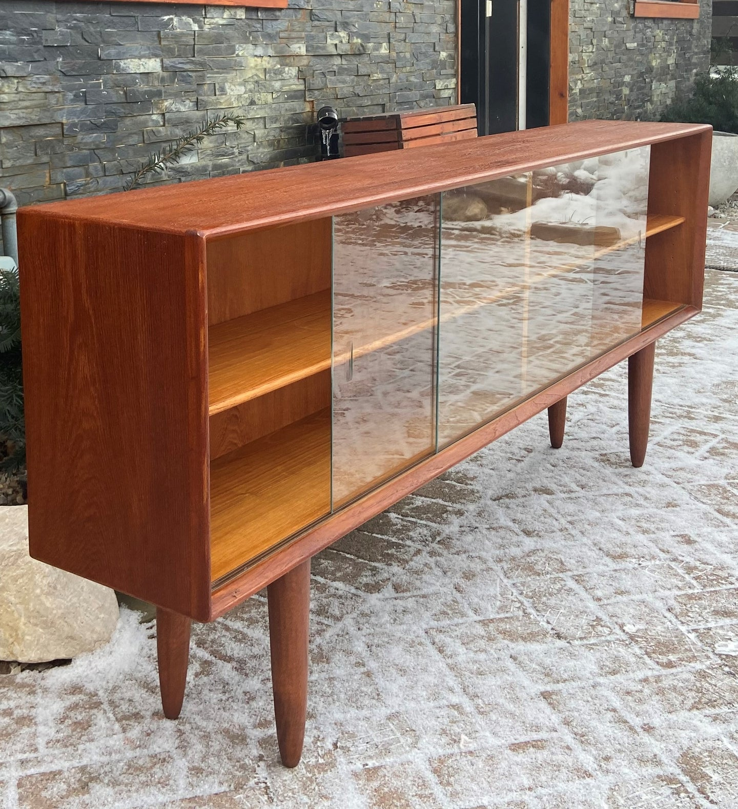 REFINISHED Danish MCM Teak Display Bookcase 71