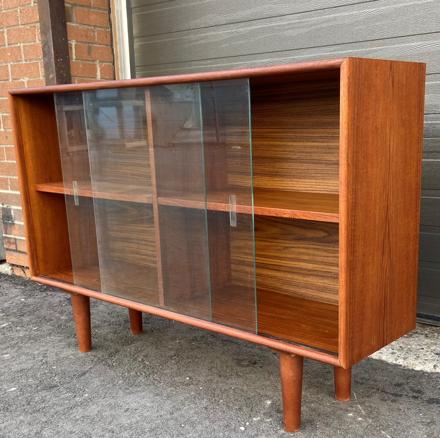 REFINISHED Danish MCM Teak Display Bookcase 47.5