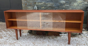 "REFINISHED Danish MCM Teak Display Bookcase 71"" PERFECT"