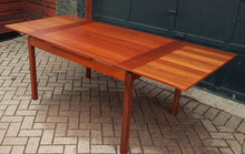 "Load image into Gallery viewer, REFINISHED Compact MCM Teak Draw Leaf Table 51""-83"" by RS Associates, Perfect"