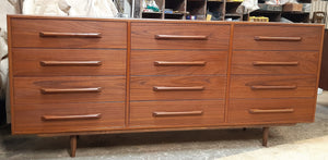 "REFINISHED MCM Teak Dresser 12 Drawers, 75"", narrow, PERFECT - Mid Century Modern Toronto"