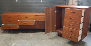 REFINISHED MCM Teak Dresser, Wardrobe, Queen Bed w floating nightstands PERFECT - Mid Century Modern Toronto