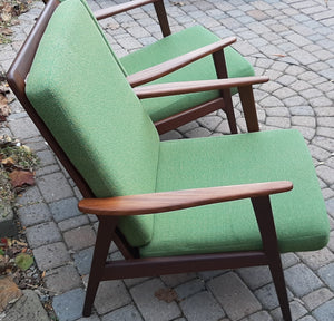 On Hold***A pair of Danish MCM Solid Teak Lounge Chairs Highback REFINISHED, perfect