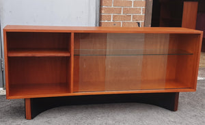 "REFINISHED MCM  Teak Console 60"" w glass doors, Perfect"