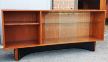 "Load image into Gallery viewer, REFINISHED MCM  Teak Console 60"" w glass doors, Perfect"