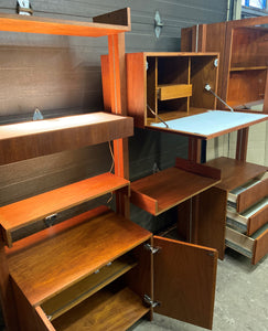 REFINISHED MCM Teak Freestanding Modular Wall Unit