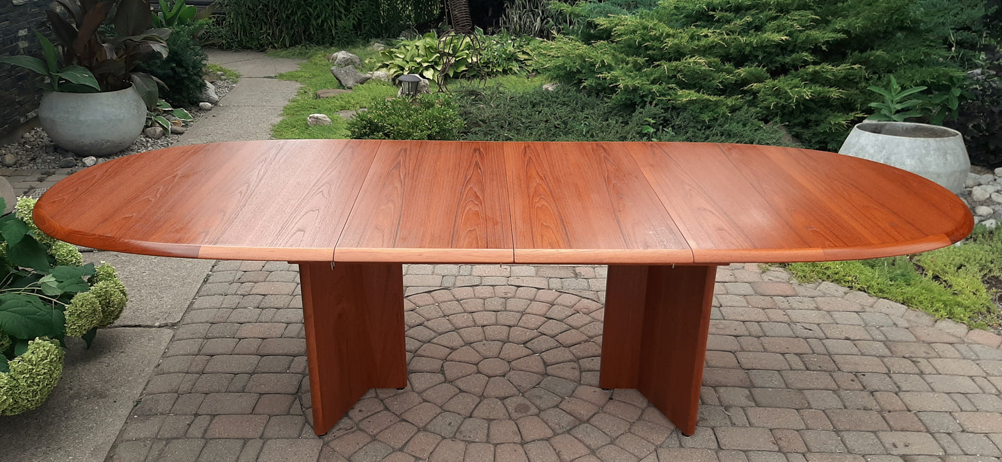 REFINISHED MCM Teak Dining or Boardroom Table w 2 Leaves, Large, PERFECT, 74