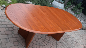 "REFINISHED MCM Teak Dining or Boardroom Table w 2 Leaves, Large, PERFECT, 74""-109"""