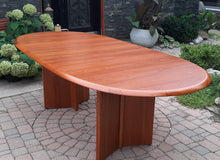 "Load image into Gallery viewer, REFINISHED MCM Teak Dining or Boardroom Table w 2 Leaves, Large, PERFECT, 74""-109"""