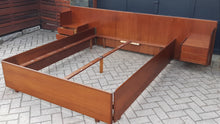 Load image into Gallery viewer, REFINISHED Danish MCM Teak Platform Bed w floating nightstands Queen, PERFECT