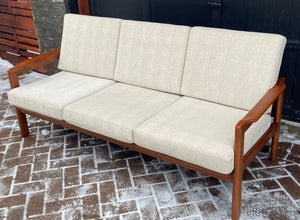 On Hold for M.***REFINISHED REUPHOLSTERED Danish MCM Solid Teak Sofa, Perfect