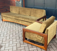 Load image into Gallery viewer, REFINISHED REUPHOLSTERED MCM Teak 4-Seater Sofa & Armchair in Wool Mohair - PERFECT