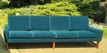 Load image into Gallery viewer, REFINISHED MCM Teak 4-Seater Sofa w NEW performance velvet upholstery, like NEW
