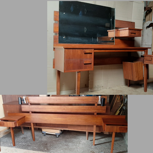 REFINISHED MCM Teak Headboard w floating nightstands Queen and Vanity or Desk, Perfect