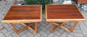 Sculptural MCM Walnut & Ash side tables REFINISHED, in style of A.Pearsall, Perfect