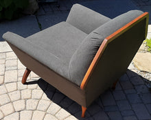 Load image into Gallery viewer, REFINISHED MCM Walnut lounge chair w NEW charcoal wool upholstery & spring base, Perfect