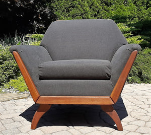 REFINISHED MCM Walnut lounge chair w NEW charcoal wool upholstery & spring base, Perfect